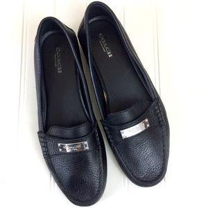 Coach black leather Fredrica slip-on loafer flats